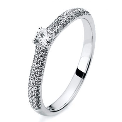 14 kt white gold solitaire with side stones with 79 diamonds 1A419W454-1