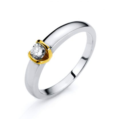 14 kt white gold / yellow gold solitaire with 1 diamond 1A375WG452-1