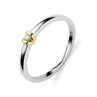 14 kt white gold / yellow gold solitaire with 1 diamond 1D897WG456-1