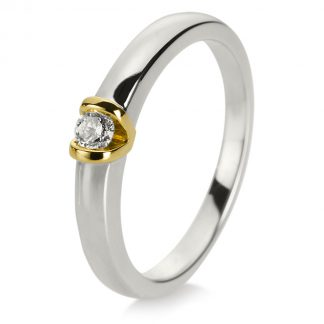 14 kt white gold / yellow gold solitaire with 1 diamond 1D900WG456-2