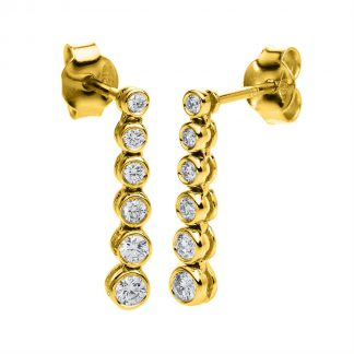 14 kt yellow gold earrings with 12 diamonds 2C428G4-1