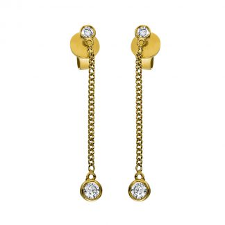 14 kt yellow gold earrings with 4 diamonds 2G810G4-1