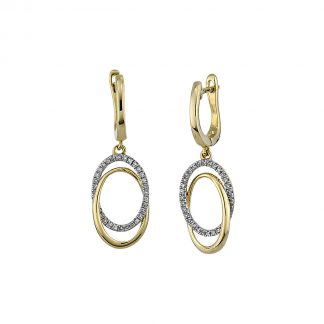 14 kt yellow gold earrings with 64 diamonds 2A052G4-1