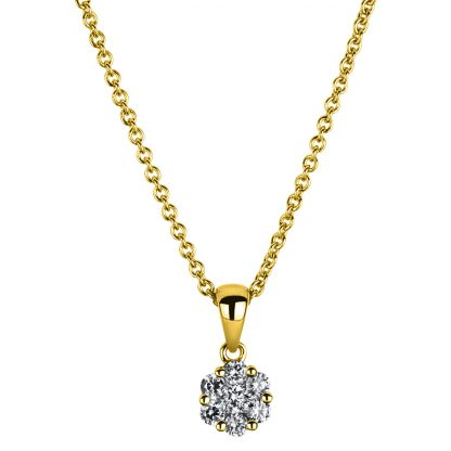 14 kt yellow gold necklace with 7 diamonds 4A221G4-1