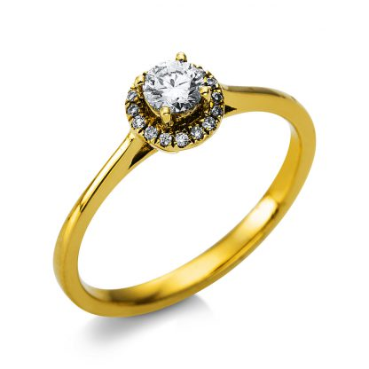 14 kt yellow gold solitaire with side stones with 17 diamonds 1T467G454-2