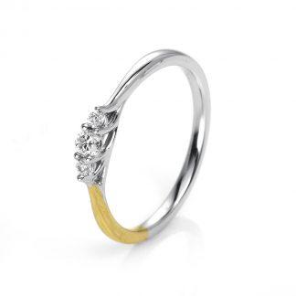 14 kt yellow gold / white gold multi stone with 3 diamonds 1I706GW454-2