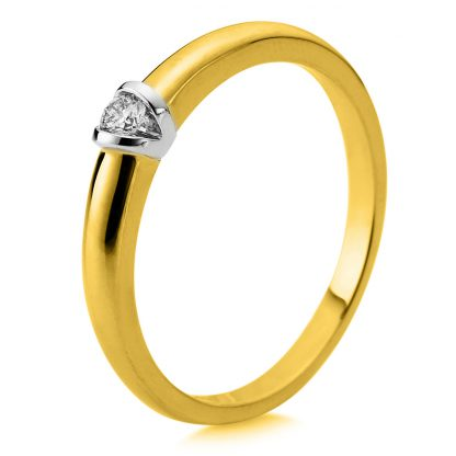 14 kt yellow gold / white gold solitaire with 1 diamond 1D871GW456-4