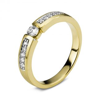 14 kt yellow gold / white gold solitaire with side stones with 11 diamonds 1A407GW454-1