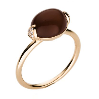 18 kt red gold color stone with 12 diamonds