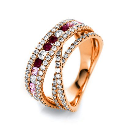 18 kt red gold color stone with 131 diamonds