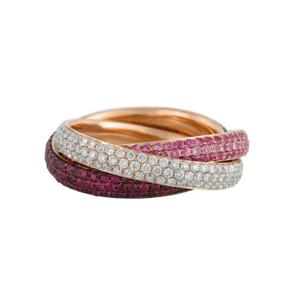 18 kt red gold color stone with 159 diamonds