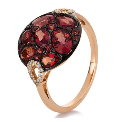 18 kt red gold color stone with 24 diamonds