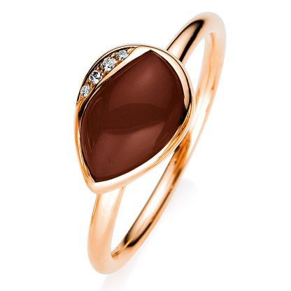 18 kt red gold color stone with 4 diamonds