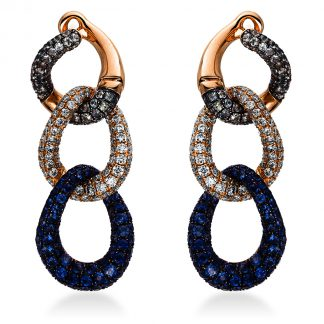 18 kt red gold earrings with 138 diamonds