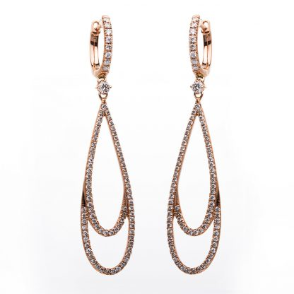 18 kt red gold earrings with 168 diamonds 2B906R8-3