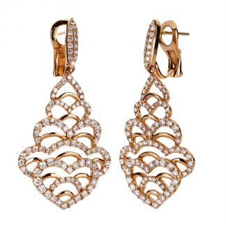 18 kt red gold earrings with 200 diamonds 2A094R8-1