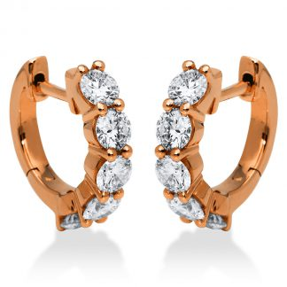18 kt red gold hoops & huggies with 10 diamonds 2E286R8-1