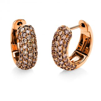 18 kt red gold hoops & huggies with 98 diamonds 2E556R8-5