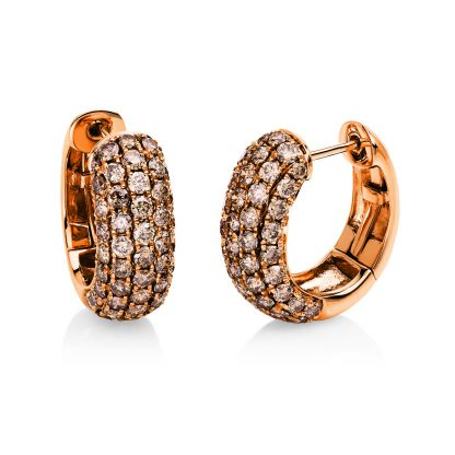 18 kt red gold hoops & huggies with 98 diamonds 2E557R8-3