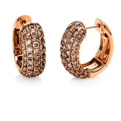 18 kt red gold hoops & huggies with 98 diamonds 2E558R8-1