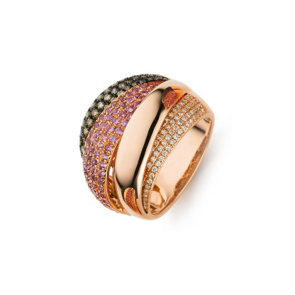 18 kt red gold multi stone with 118 diamonds