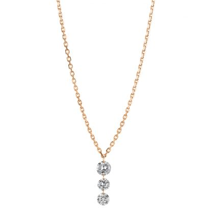 18 kt red gold necklace with 3 diamonds 4A356R8-1