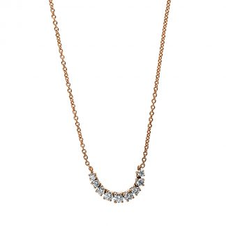 18 kt red gold necklace with 9 diamonds 4E506R8-1