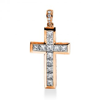 18 kt red gold pendant with 17 diamonds 3A932R8-1