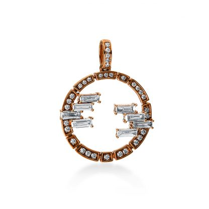 18 kt red gold pendant with 41 diamonds 3D133R8-1