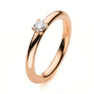 18 kt red gold solitaire with 1 diamond 1A381R856-1