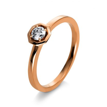 18 kt red gold solitaire with 1 diamond 1Q416R854-1