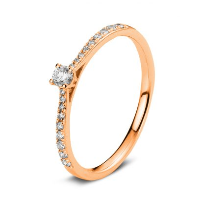 18 kt red gold solitaire with side stones with 19 diamonds 1A422R854-2