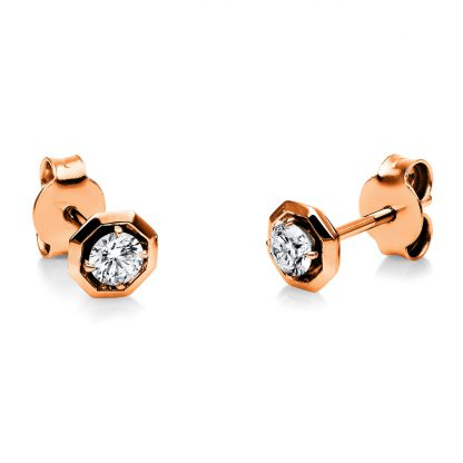 18 kt red gold studs with 2 diamonds 2H136R8-1