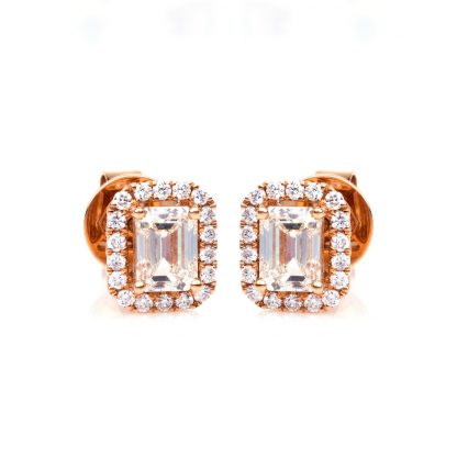 18 kt red gold studs with 38 diamonds 2C791R8-1