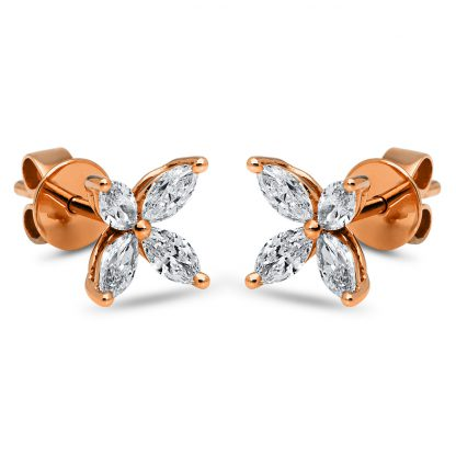18 kt red gold studs with 8 diamonds 2I209R8-1