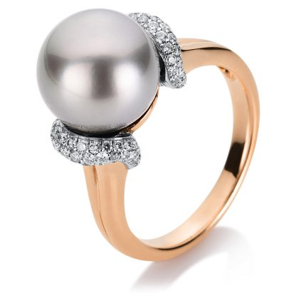 18 kt red gold / white gold pearl with 80 diamonds