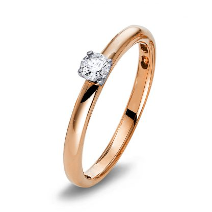 18 kt red gold / white gold solitaire with 1 diamond 1Q419RW855-1