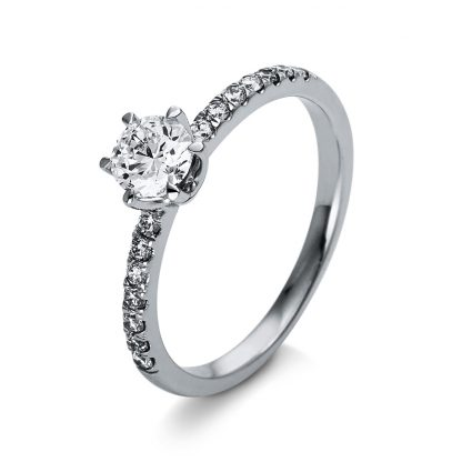 18 kt  solitaire with side stones with 13 diamonds 1O261WP855-1