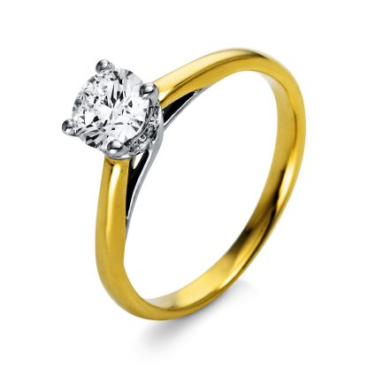 18 kt  solitaire with side stones with 13 diamonds 1O305GP853-1