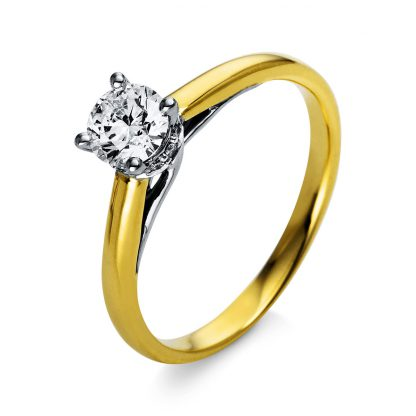 18 kt  solitaire with side stones with 13 diamonds 1O306GP853-1