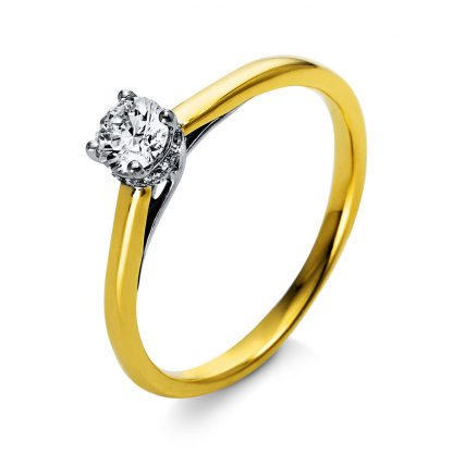 18 kt  solitaire with side stones with 13 diamonds 1O314GP853-1