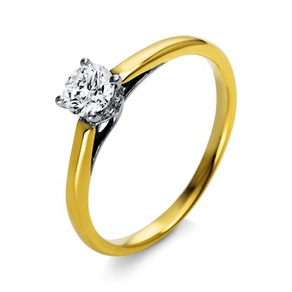 18 kt  solitaire with side stones with 13 diamonds 1O315GP853-1