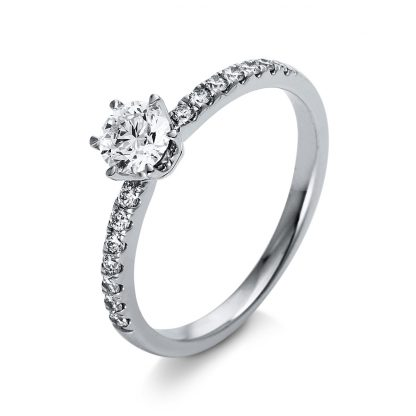 18 kt  solitaire with side stones with 15 diamonds 1O260WP855-1