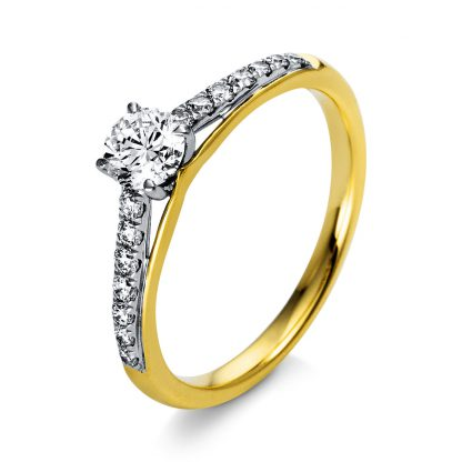 18 kt  solitaire with side stones with 15 diamonds 1O287GP853-1