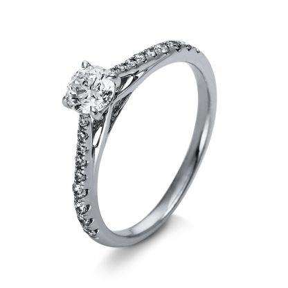 18 kt  solitaire with side stones with 19 diamonds 1O269WP853-1