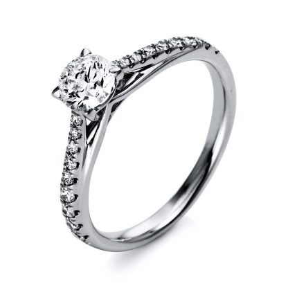 18 kt  solitaire with side stones with 19 diamonds 1O295WP853-1