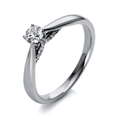 18 kt  solitaire with side stones with 21 diamonds 1O281WP853-1