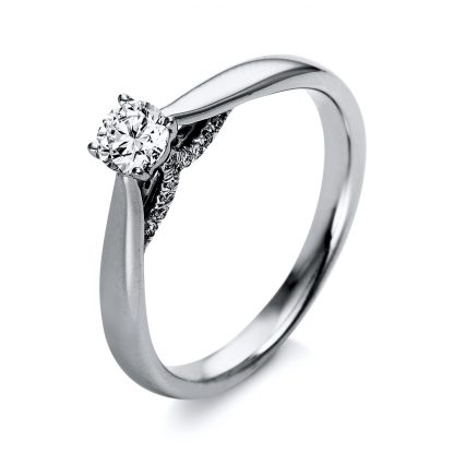 18 kt  solitaire with side stones with 21 diamonds 1O282WP853-1