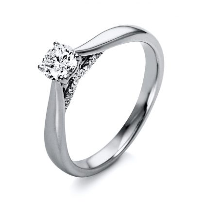 18 kt  solitaire with side stones with 21 diamonds 1O283WP853-1