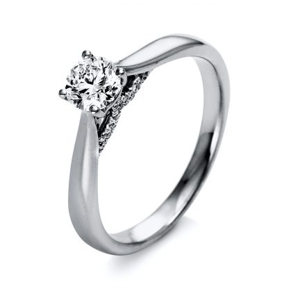 18 kt  solitaire with side stones with 21 diamonds 1O284WP853-1